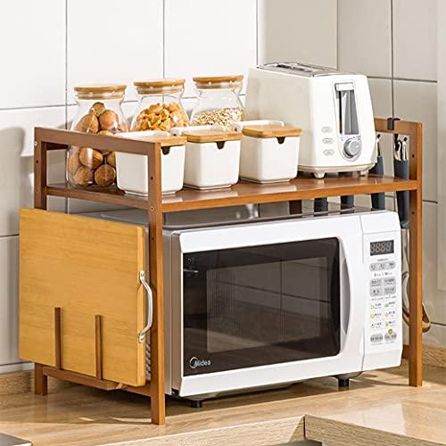Eushine Mensola Microonde, Supporto Per Forno A Microonde In Bambù Naturale, Mensola per microonde, Ripiano cucina Con 4 ganci neri E porta taglieri 55x42x35cm