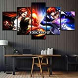 Pinturas Póster del 5 piezas The King of Fighter 97 Kyo Kusanagi VS Iori Yagami Game Poster HD Imágenes Pinturas Arte de la pared Decoración del hogar (Tamaño B) Sin marco