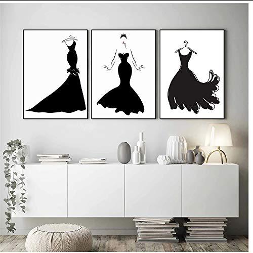 Zwarte Jurk Schoonheid Abstract Nordic Poster Mode Muur Kunst Canvas Schilderij Pop Art Kleding Studio Decoratieve Schilderij -50x70cmx3st -Geen Frame