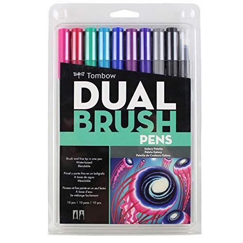 トンボ鉛筆 筆ペン デュアルブラッシュペン ABT 10色セット ギャラクシー AB-T10CGA
