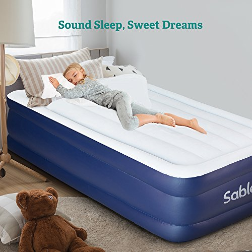 Air Mattress with Built-in Electric Pump, Sable Raised Blow up Inflatable Airbed with a Storage Bag , Height 18 Inches for an Adult, Twin Size