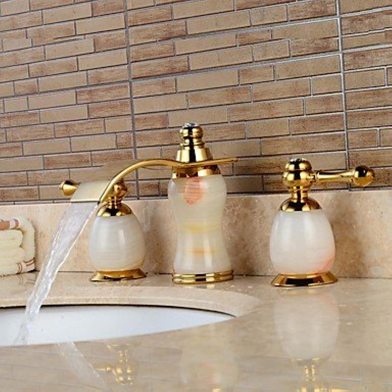 YI KUI Waschtischarmaturen Zeitgenssisch 3-Loch-Armatur Wasserfall with Keramisches entil Zwei Griffe Drei Lcher for Ti-PD, Waschbecken Wasserhahn