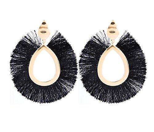 Pnizun F?cherf?rmig Ethnische Bohemian Lange Quaste Silk Ohrringe Metalllegierung Statement Ohrringe Weinlese-Bolzen-Ohrring-Frauen [Schwarz]