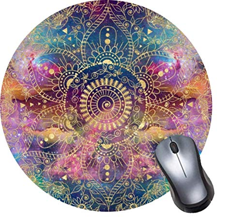 """Coseevel Gaming Computer Mouse Pad with Non-Slip Rubber Base, Premium Round Mousepads-Gold Watercolor and Nebula Mandala 7.9""""x0.12"""" Inch"""