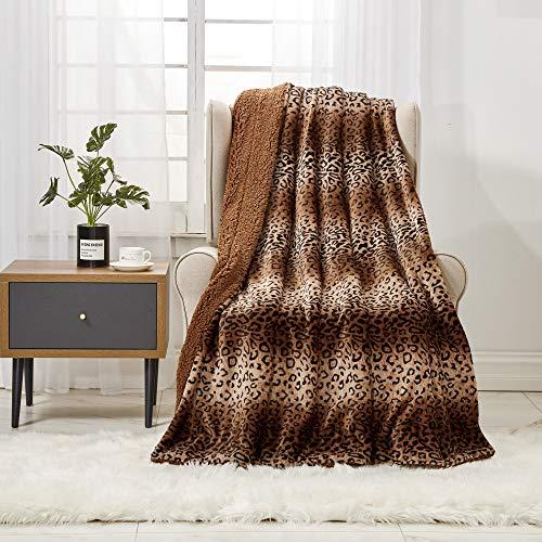 softan Manta de Tiro de Sherpa con Estampado de Leopardo, Manta de Felpa de Felpa súper Suave para sofá, Lujosa Manta de Piel difusa, 130 cm × 150 cm