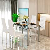 MTFY Dining Table and Chairs Set 5pcs, Modern Dining Room Glass Table with 4 PU Leather Chairs Set for 4 Persons, Modern Rectangle Dining Furniture Set of 4 for Living Room/Kitchen