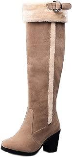 FANIMILA Women Fashion Knee High Boots Block Heels Pull On