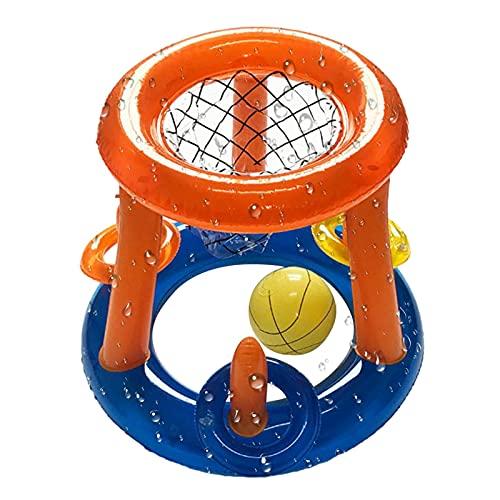 Letway Canasta de baloncesto inflable en agua, juego de piscina, juego de baloncesto flotante, adecuado para niños, jóvenes y adultos