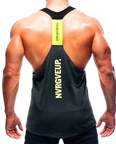 A. M. Sport Camisa Camiseta Hombre Tirantes Culturismo Fitness Deportiva. Ropa Deporte Masculina para Entrenar Gym (EA/Gris) - L