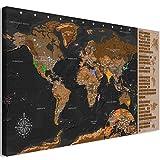 murando Rubbelweltkarte deutsch Pinnwand 90x45 cm schwarz Weltneuheit: Weltkarte zum Rubbeln Laminiert Rubbelkarte mit Fahnen/Nationalflaggen Inkl. 50 Markierfähnchen/Pinnnadeln...