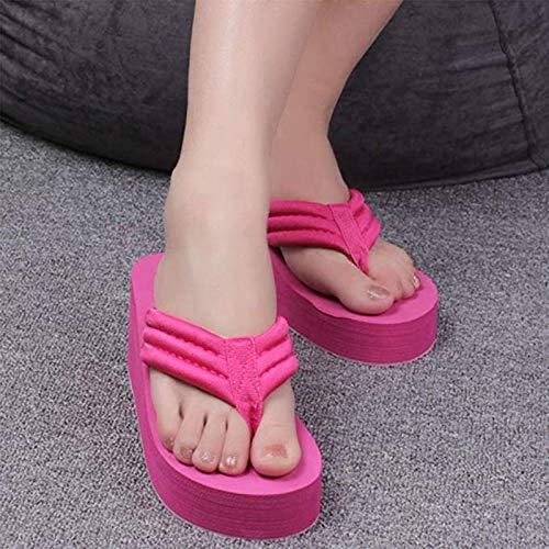 XBXDM Mujer Wedge Zapatillas Sandalias Chanclas Mujer Verano Zapatos Plataforma Baño Zapatillas Cuña Playa Slope Flops Zapatillas,04,37EU