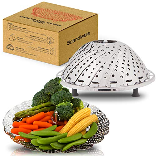 Collapsible Steamer Basket - Fits Any Size Pot To Make Cooking Quick, Easy and Convenient - Vegetable Steaming Baskets Made From Dependable Stainless Steel That Cleans Easy and Lasts For Years