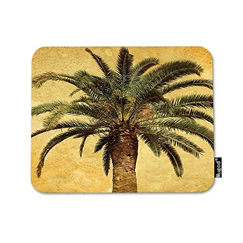 Mugod Palm Tree Mouse Pad Hawaiian Tropical Palms Leaf Vintage Green Yellow Mouse Mat Non-Slip Rubber Base Mousepad for Computer Laptop PC Gaming Working Office & Home 9.5x7.9 Inch