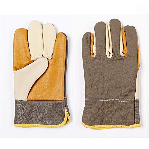 Guantes de jardinería para hombre, guantes cortos de soldador de cuero completo, para muebles, piel variada, resistentes al desgaste, aislantes del calor, absorbentes del sudor, colores al azar