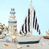 com-four® 2-teiliges maritimes Deko-Set - Segelschiff und Leuchtturm aus Holz im Used-Look (02-teilig - Segelschiff + Leuchturm) - 4