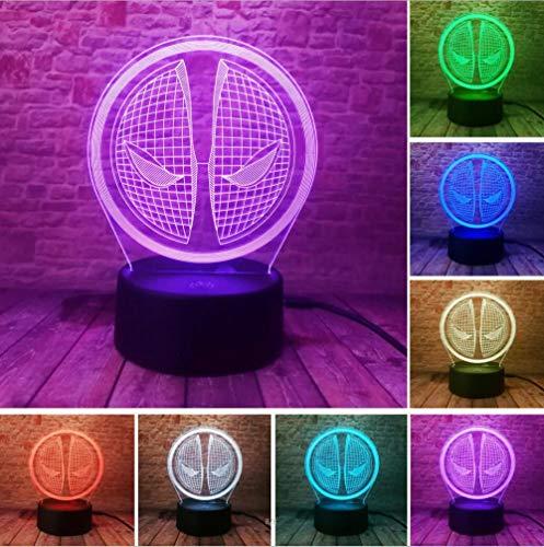 Avengers Deadpool 3D LED Nachtlicht USB 7 Farbdekoration Illusion RGB Zuhause Hould Lampe Kinder Urlaub und Geburtstage Freunde Geschenke Deadpool 2 Deadpool 4 Controller 7 Farbe USB wiederaufladbare