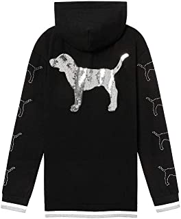 Pink New Dog Campus Bling Half Zip Pullover Hoodie Large NWT Black