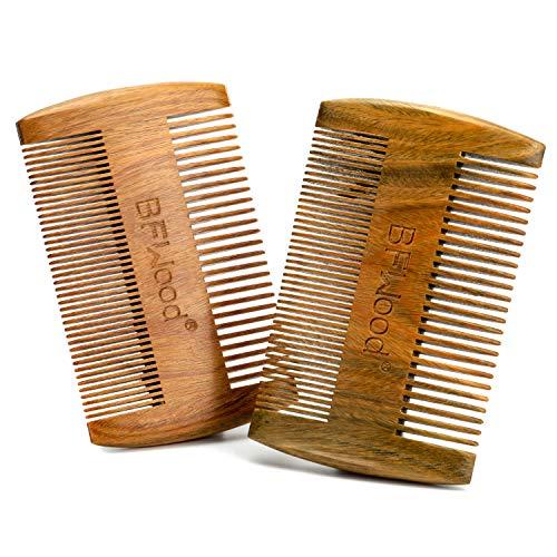 BFWood Pettine Tascabile per Barba e Baffi – Pettine in Legno di Sandalo(set da 2)