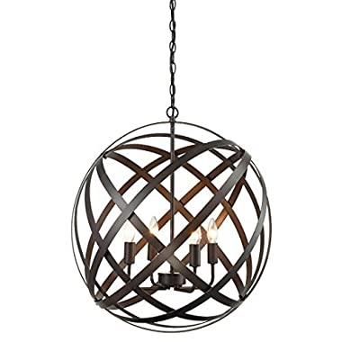 AXILAND Industrial Russet Axis 4-Light Metal Globe Candelabra Pendant Chandeliers Rustic Spherical Foyer Hanging Light Fixtures, RBZ