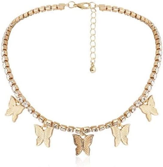 Butterfly Pendants with Stones Simple Charming Bling Crystal Statment Necklace Collar Chain (Metal Color : Gold)