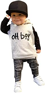 Moonker Fashion Toddler Infant Baby Boys Clothes Set Hooded Tops+ Long Pants Outfits Set