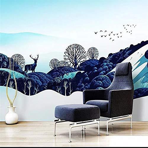 Sucsaistat 3D Wallpaper Benutzerdefinierte Deer Mountain Forest Real Estate Kreative Schöne Sofa Tv Hintergrundbild - Wandbild Material,350 * 256Cm