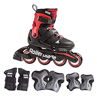 Rollerblade0795720C741 Microblade Boy's Adjustable Fitness Inline Skates and 3 Pack of Protective Gear, Black and Red, Junior, Youth Performance Inline Skates, Black/RED, 2-5