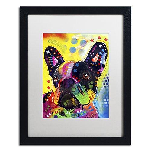 French Bulldog 2 by Dean Russo, White Matte, Black Frame 16x20-Inch
