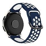 MroTech Cinturino 20mm Compatibile per Samsung Galaxy Watch 42mm/Active2/Active 2 40mm 44mm/Gear Sport/S2 Classic/Amazfit Bip/Huawei Watch GT 2 42MM/Vivoactive 3/TicWatch C2 Smartwatch Band-Blu/Bianco