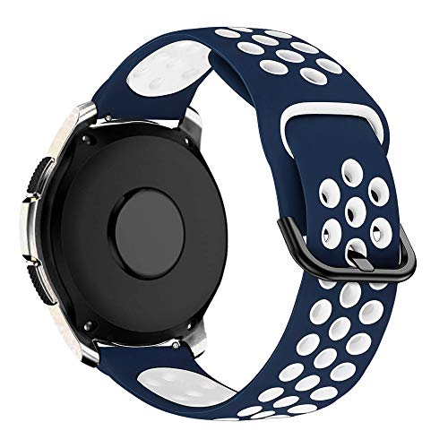 MroTech Correa 20mm Silicona Compatible Samsung Galaxy Watch 42mm/Active/Active2 40mm 44mm/Gear Sport Pulsera Repuesto para Vivoactive 3/Ticwatch 2/E/C2/Huawei GT2 42 MM/Magic 2 42mm Band,Azul/Blanco