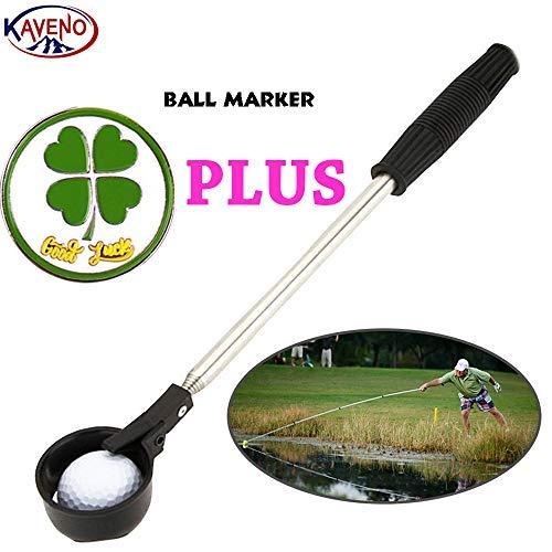 kaveno Portable Telescopic Golf Ball Retriever Pick Up Scoop Stainless Steel Shaft Tool (Ball Retriever)