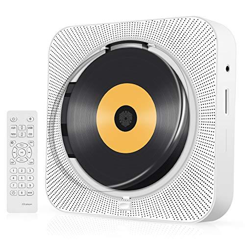 Lettore CD, Lettori CD portatili montabili a parete per la casa, Lettore musicale CD Boombox audio con telecomando Radio FM Altoparlanti HiFi integrati con display LCD