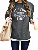 Funny Sweatshirts for Women It's Fine I'm Fine Everything is Fine Shirts Inspirational T-Shirt Cute Sayings Tee Tops Gray