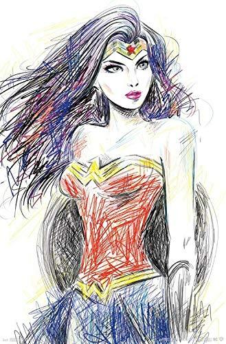 Diuangfoong WONDER WOMAN - Póster de Sketch - DC Comics JUSTICE LEAGUE 15735