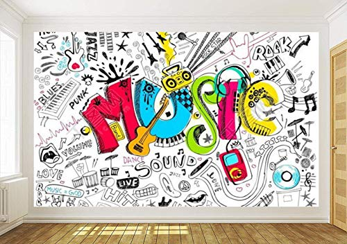 Wallpaper Camera Da Letto Carta Da Parati Home Decor 3D Music Graffiti Sketch Doodle Carta Da Parati...