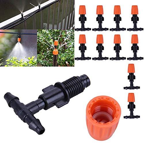CamKpell Sistema de riego por Goteo Riego automático Manguera de jardín Kits de riego de jardín por microgoteo con goteros Ajustables - Blanco 10M -10M