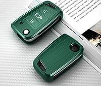 フォルクスワーゲンVWポロゴルフ7MK7ティグアンパサートシュコダオクタビアコディアックカロクシートアテカレオンのTPUカーボンファイバーカーキーCsaeカバー-緑