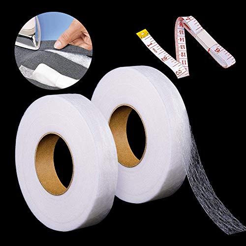 RSVOM Cinta para dobladillo Paquete de 2, cinta adhesiva para dobladillo, cinta adhesiva para planchar sobre tela, para ropa, pantalones, cortinas, manualidades para bricolaje, 140 yardas, 20 y 25 mm