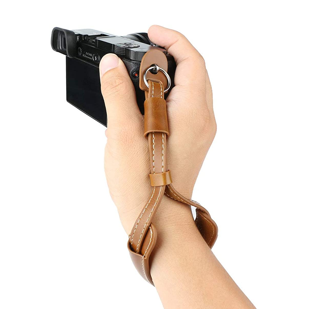 Leather Camera Hand Wrist Strap Adjustable Camera Strap for A6000 A6300 A6500 X100F X100T X100S X100 X-T2 X-T10 X-T20 X-E2 X-E3 and Other Mirrorless Cameras (Brown)
