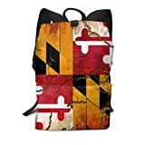 Homebe Trendy Backpack Retro Cracked Maryland Flag Travel Bag Daypacks Daypack with ForTrekking Outdoor Sports Business