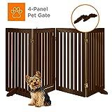 Best Choice Products 31.5in 4-Panel Freestanding Wooden Pet Gate w/Walk Through Door, Adjustable Pen - Espresso