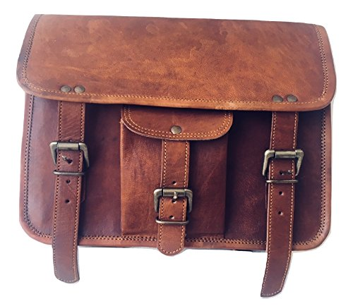 vintage crafts Genuine Goat Leather Messenger Satchel Motorcycle Tool Bag Brown Handlebar Sissy bar Travel Bag Saddlebags Panniers