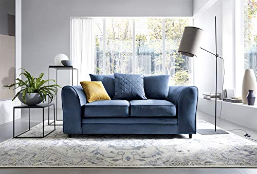Chicago Corner Sofa Settee Right or Left in Dark Blue Water Repellent Velvet Fabric (2 Seater)