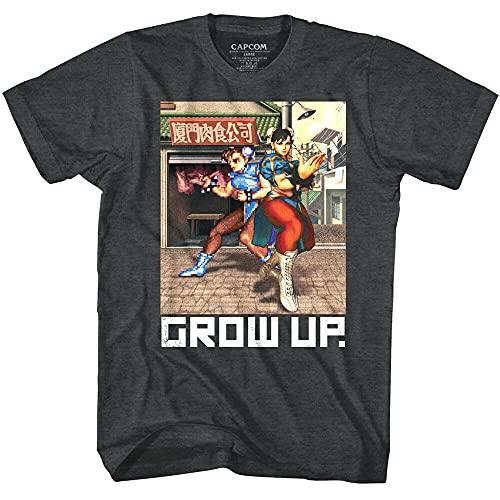 TONLION Street Fighter Chun Li Grow Up Men's T Shirt Spinning Bird Kick Chinese Capcom Black XL