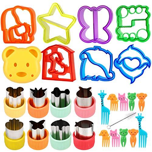 26Stück Ausstechformen Brot Toast, Gemüse Sandwich Ausstecher, Edelstahl Cookie Plätzchen Keks Cutter mit Anti-Rutsch Griff, Tierform Gemüseschneider bento zubehör kinder mit 10 Karikatur Zahnstocher