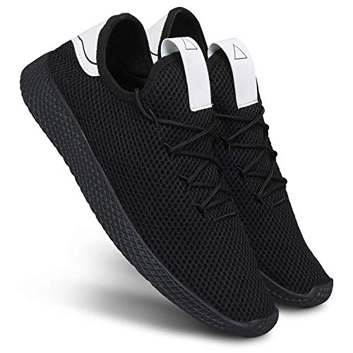 Shoe Island ® Revo-X ™ Popular Black Mesh College Lace Up Casual Running Trainer Gym Sports Shoes, 8 UK/India