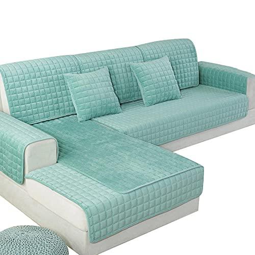 Allenger Sofaschoner,1 Stück Sofabezüge für Wohnzimmer, Plüsch Sofa Sofakissen Couch Bezug, Modern Minimalist Corner Sofa Handtuch-Grün_90x160cm 35x63in
