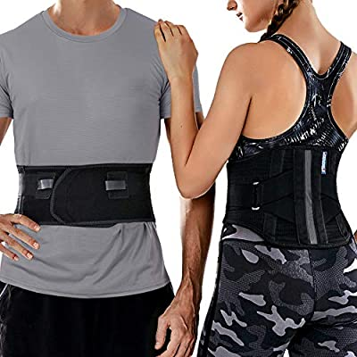 T TIMTAKBO Lower Back Brace W/Removable Lumbar Pad for Men Women Herniated Disc,Sciatica,Scoliosis,Waist Pain, Lumbar Support Belt (Black/Gray, S/M)