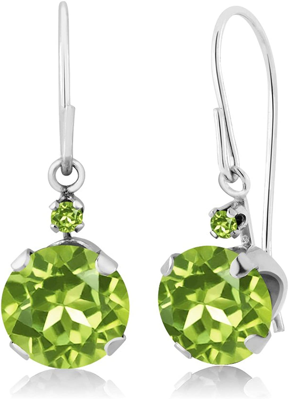 1.84 Ct Round Green Peridot and Simulated Peridot 14K White gold Earrings