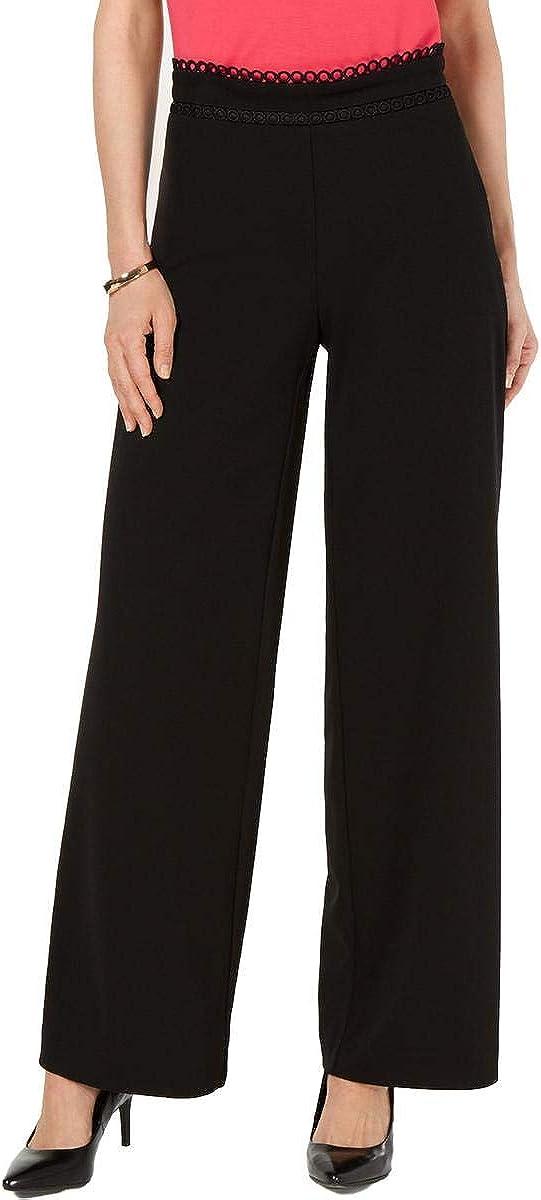 Alfani Womens Black Wide Leg Wear to Work Pants Size 6